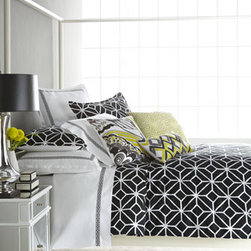 "Black and White ""Trellis"" Bed Linens - Bold bedding in an understated color palette is very cool."