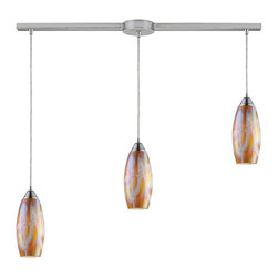 Elk - Iridescence 3-Light Golden Pendant in Satin Nickel - Individuality is what defines this exquisite line of hand blown glass. Each piece is meticulously hand blown with up to three layers of uncompromising beauty and style.