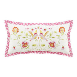 "Dena Home - Dena Home Embroidered Bird Pillow, 12"" x 24"" - Good night, sleep bright in a mix of cheery floral patterns. All are cotton and finished with loads of special touches. ""Olivia"" comforters have large-scale flowers and embroidered pink border. ""Emily"" quilts are finished with a pleated ruffle edge. ...."