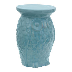 "Oriental Furniture - 18"" Carved Owl Porcelain Garden Stool - Have a hoot with this fun owl-shaped garden stool! Handmade from porcelain and finished with a cool aqua glaze, this friendly owl will bring a cheery dose of retro-modern chic to your home. Weather resistant with an open base suitable for uneven terrain, this owl is ideal for placing outdoors. Strong and stable, this lovely accent piece is perfect for extra seating, a colorful side table, a plant stand, or on its own as a unique addition to your home decor."