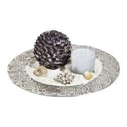 Sand/Sea/Shell/Ocean Candle Centerpiece Decor - The Sand and Sea candle gift set contains a decorative tray with beautiful swirl accents around the edge. Items that come with this set include a bag of soft white sand that contains mica producing a shimmering sparkle to the sand truly making the sand come alive. Another item in the set is a stunning coastline shell that is 5 inches round. When this shell is nestled in the sand, it takes on a sheen that makes it a wonderful addition to the tray. You can also nestle the other assorted shells into the sand on the tray in a pleasing arrangement.