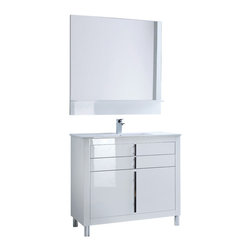 "Macral - Roma Bathroom Vanity, 40"" - Roma Bathroom Vanity with extra storage, 40"" width. The price ONLY includes the vanity and the sink console. The rest of the items such as the mirror and the fauce are NOT INCLUDED. This vanity is made in MDF high gloss lacquer and has 3 drawers with soft close. Top 2 drawers have small divisions, very convenient for the bathroom and ideal for narrow spaces. Handles and legs made in metal polished chrome. White ceramic sink console included. Beautifully coordinates with the Due mirror, on sale separately online in our Houzz profile. Raises the level of elegance in any bathroom. Designed and manufactured in Spain by Macral."
