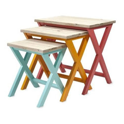 Maldonado Nesting Tables - Set of 3 - This set of three fir wood nesting tables puts the fun in funky with it's bold color trifecta, x-motif bases, natural wood tops and screaming accents of color.