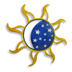 Hand Painted Sun Moon and Stars Metal Art Wall Hanging 13 Inch - This beautiful,hand-painted metal sun, crescent moon and stars wall hanging measures 19 inches in diameter. Featuring wonderful personality, with beautiful hand-painted yellow and blue, this wall hanging looks great on any wall, indoors and outdoors, and makes a great housewarming gift. NOTE: These are hand-painted, one at a time, and there may be slight differences in color and pattern from the one pictured.