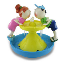 Zeckos - Playful Boy and Girl Sharing Drink Decorative Tabletop Water Fountain - With the innocence of childhood, this fun fountain offers a playful accent to any tabletop inside your home or sheltered outdoor area Made from durable resin in a colorful design, this 8 inch high, 9 inch long, 7.5 inch wide (20 X 23 X 19 cm) fountain features a boy and girl seemingly leaning in for a kiss while sharing a refreshing drink of water that bubbles from the top and collects in the basin below. A submersible pump and power cord are included, making set up quick and easy. It's great as a gift sure to be adored