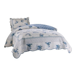 Traditions - Rose Blossom Blue Twin Quilt with standard sham - Scalloped edges, delicate flowers and fine stitching in this classic bed. 100% cotton face materials and cotton fill make this quilt a classic for any traditional bedroom.
