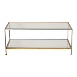 Worlds Away - Worlds Away Hammered Gold Leaf Rectangular Coffee Table TAYLOR G - Hammered gold leaf rectangular coffee table with beveled glass shelves.