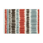 Aqua & Red Ikat Stripe Custom Placemat Set - Is your table looking sad and lonely? Give it a boost with at set of Simple Placemats. Customizable in hundreds of fabrics, you're sure to find the perfect set for daily dining or that fancy shindig. We love it in this modern ikat stripe of cherry red, charcoal gray & aqua blue on ivory cotton.
