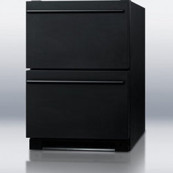 """Summit - SP5DS2DBLK 24"""" 5.4 cu. ft. Capacity Built-in Drawer Refrigerator  Digital Thermo - This auto defrost all-refrigerator features two easy sliding drawers with sleek professional handles The 54 cuft interior is constructed from stainless steel for lasting durability Designed for use under counters it also has a fully finished black ca..."""