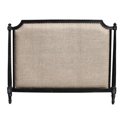 Noir Isabelle Headboard, Hand-rubbed Black - I love the mix of dark wood, studs and linen on this piece. It's very unique and antique looking.