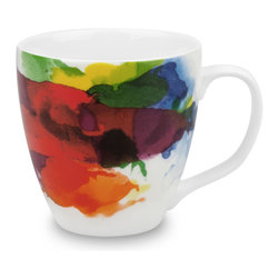 "Konitz - Set of 4 Mugs ""On Color!"" - Add a splash of watercolor to your morning routine with this coffee mug set. Sturdy white porcelain mugs with a rainbow of ""painted-on"" color."