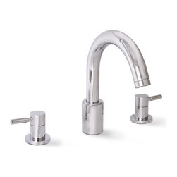Premier - Essen Roman Tub Faucet - Chrome - Coordinate your bathroom suite with Premier Essen Roman tub faucets. Complete the contemporary feel of your bath with Essen's stately Roman tub faucet that uses a trouble-free, brass-framed ceramic disc cartridge to provide unparalleled performance. This twin lever widespread Roman tub faucet is designed for 8in. to 12in. center set distances. It features all-brass construction and a heavy-duty chrome-plated finish. This faucet offers a powerful flow rate of 4.0 gallons per minute. It complies with the requirements of the Uniform Plumbing Code and the Americans with Disabilities Act. It also includes Premier's industry-leading Limited Lifetime Warranty.