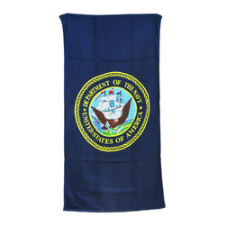 Zeckos - United States Navy Blue Beach Towel 60 x 30 USN - This navy blue terrycloth beach towel features the seal of the United States Navy. The towel measures 60 inches long, 30 inches wide, with sewn edges to prevent fraying. It makes a great gift for current sailors, veterans and proud families of Naval servicemen and women.