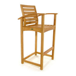 Westminster Teak Furniture - Somerset Teak Bar Stool - High style. Put your guests on a pedestal with this quality bar stool made of plantation-grown teak. Rated Best Overall by the Wall Street Journal, it's waterproof design weathers the elements beautifully, allowing you to enjoy the great outdoors year-round.