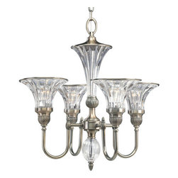 Thomasville Lighting - Thomasville Lighting P4505-101 Roxbury 4 Light 1 Tier Mini Chandelier - Thomasville Lighting P4505-101 Four Light Roxbury Single Tier Mini ChandelierYour guests will be drawn to the Art Nouveau look of this exquisite fixture. With the spirit and elegance of an early Hollywood ballroom, this opulent four light, single tier mini chandelier will dazzle your guests with its ostentatious display of dazzling light. Shimmering clear crystal bell shaped shades and accents with a Classic Silver finish sets this fixture apart.Graceful fluted arms in a Classic Silver finish emanate from a central column of fluted crystal. Crowned with simple black and off -white shades as standard, while blue-green and red shades offer a stylish option.Thomasville Lighting P4505-101 Features: