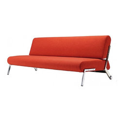 """Innovation USA - """"Innovation"""" Debonair Mixed Dance Orange Sofa Bed / Chrom... - Add an accent color to your room with this """"Innovation USA"""" Debonair Sofa Bed in Mixed Dance Orange. It looks fantastic from all angles and would be easily situated as a statement-piece either along a wall or in the centre of a room. It can be converted in bed position."""