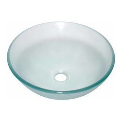 Renovators Supply - Vessel Sinks Frosted Glass Barton's Clear Green Tint Vessel Sink   12834 - Glass Vessel Sinks: Single Layer Tempered glass sinks are five times stronger than glass, 1/2 inch thick, withstand up to 350 F degrees, can resist moderate to high degrees of impact and are stain-proof. Ready to install this package includes FREE 100% solid brass chrome-plated pop-up drain, FREE machined 100% solid brass chrome-plated mounting ring and silicone gasket. Barton's Cove has a slight natural green tint. Measures 16 1/2 inch diameter x 6 inch deep x 1/2 inch thick.