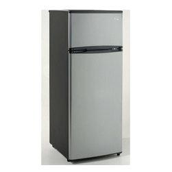 Avanti - 7.4 Cu. Ft refrigerator, two door, black with platinum finish doors - Features: