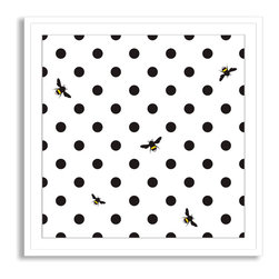 Gallery Direct - Kovalto1's 'Bumble Bee Polka Dots' Framed Paper Art - A framed and matted print by artist Kovalto1.