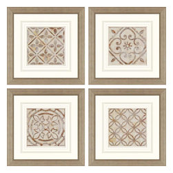 Paragon - Moroccan Tiles PK/4 - Framed Art - Each product is custom made upon order so there might be small variations from the picture displayed. No two pieces are exactly alike.