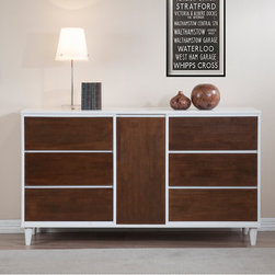 None - Calvin Tobacco Dining Room Buffet - This modern Calvin dining room buffet features a mid-century style with a durable rubberwood construction. The front panels are richly finished in tobacco,highlighted by a white-finished frame for a classic storage piece to enhance your dining space.