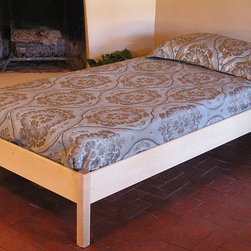 Pecos Lite Twin Wood Platform Bed - Pecos Lite Platform Bed shown here in maple with oil finish. Optional premium rails also pictured. Photo Credit: Dave Cady