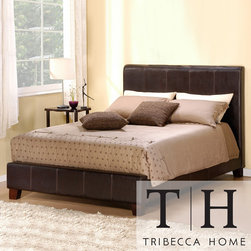 Tribecca Home - TRIBECCA HOME Castillian Dark Brown Faux Leather King-size Bed - Slumber in complete luxury in this king-size platform bed. The faux-leather headboard and distinctive stitching of this bed will add a sophisticated look to your bedroom decor. Solid wood construction enhances the durability of this bed.