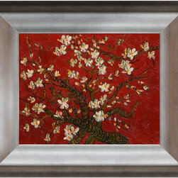 overstockArt.com - Van Gogh - Branches Of An Almond Tree in Blossom Oil Painting - Hand painted oil reproduction of a famous Van Gogh painting in an artists interpretation, Branches of an Almond Tree in Blossom. The original masterpiece was created in 1890. Today it has been carefully recreated detail by detail, color by color to near perfection. Van Gogh created this painting as a gift for his newborn nephew. The way he made is brush strokes were fitting to the baby because he combined a sense of fragility and energy. A joyous and hopeful image for the child's future. Vincent Van Gogh's restless spirit and depressive mental state fired his artistic work with great joy and, sadly, equally great despair. Known as a prolific Post-Impressionist, he produced many paintings that were heavily biographical. This work of art has the same emotions and beauty as the original. Why not grace your home with this reproduced masterpiece? It is sure to bring many admirers!