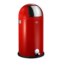 Wesco - Wesco Kickboy Waste Can, Red - Now you're talkin' trash! The flop top opens with a flick of the foot for the easiest, most hygienic disposal ever. Plus, the classic can, made in Germany of powder-coated sheet steel, simply looks cool.