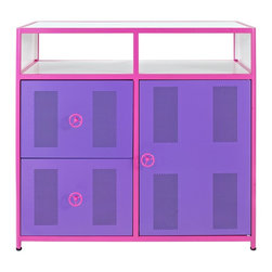 Powell - Powell Girls Buggy 1Door 2 Drawer Dresser X-800-391 - The Girls Buggy Dresser is perfect for adding an eyecatching, fun accent to a little girls bedroom. The perfect complement to the Girls Jeep Bed or as an accent piece to navigate any girls jungle. Featuring two roomy drawers, shelf space and a storage area behind the door, this piece provides ample storage for all of your little girls possessions.  The bright pink, purple and white finish will add a fun look to any space.