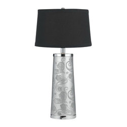 AF Lighting - AF Lighting Henna Paisley Modern / Contemporary Table Lamp X-LT-2268 - Henna Paisley is a study of design contrasts. The organic, hand drawn paisley motif beautifully contrasts with the clean straight lines and slick surface. The contrast is balanced, beautifully bridging the gap. Crafted in silver foil paper, printed in black. The design is an original design by Candice Olson. The shade is a hardback black linen poly cotton. Due to hand crafting, no two are alike.