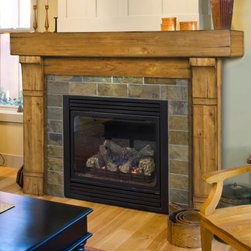 Pearl Mantels Cumberland Fireplace Surround - Add a touch of rustic authenticity to your hearth with the Pearl Mantels Cumberland Fireplace Mantel. This pine mantel surround features distressed natural wood accents and a top shelf that'll accommodate artwork and decoration of any type. Available finished or in plain easy-to-stain hardwood and 2 sizes, the Cumberland is the perfect way to finish a living room or cabin. 1.5-inch projection from wall for installation of a non-combustible material like stone, tile, or marble. Ships in 3 pieces - simple nuts and bolts assembly. All hardware and a mitered hanger board for installation are included. Full dimensions 48-inch mantel Interior mantel width: 48 in. Interior mantel height: 42 in. Width to outside leg at base: 66 in. Shelf length: 72 in. Shelf depth: 10 in. Shelf height: 8 in. Overall height: 57 in. Leg Depth: 5 1/4 in. 56-inch mantel Interior mantel width: 56 in. Interior mantel height: 42 in. Width to outside leg at base: 74 in. Shelf length: 80 in. Shelf depth: 10 in. Shelf height: 8 in. Overall height: 57 in. Leg Depth: 5 1/4 in. About the Pearl InlayPearl Mantels is now including a discrete, authentic inlaid pearl on each of their pieces as a certificate of authenticity. During the transition, your Pearl Mantel may or may not include this feature. Please contact our Customer Care Center with any questions. About Pearl Mantels Inc.Pearl Mantels Inc. founder Jim Pearl believes in basing his business on honest value, quality products, and personal service - he even calls clients himself to evaluate their needs and develop leading-edge solutions. Pearl also believes mantels are the emotional core of rooms, representing heritage and tradition and displaying precious heirlooms. Each Pearl mantel - made from light, tight-grained Asian Choi wood - boasts exclusive detail and classic design, all at an affordable price. A variety of available finishes ensures Pearl Mantels Inc. indeed has a mantel for every hearth.