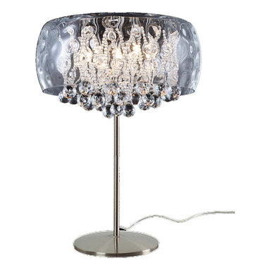 Nuevo Living - Water Table Lamp - Illuminate your favorite setting with this irresistible modern-meets-romantic lamp. A collection of crystals cascades from a water-rippled glass shade for a uniquely dazzling effect.
