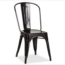 "Tolix(TM) Cafe Chair, Black - Since the 1930s, these French-made chairs - produced by the well-known company Tolix - have been adding style to dining spots from bistros to backyards. Each Tolix Cafe Chair is solidly built of rugged steel. 18"" wide x 18.5"" deep x 33.5"" high Stackable up to eight high when space is at a premium. Add a layer of comfort with our Cafe Chair Cushion (sold separately). Catalog / Internet Only."