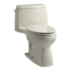 """Kohler - Kohler K-3810-G9 Sandbar Santa Rosa Santa Rosa Comfort Height - Santa Rosa™ Comfort Height  one-piece, compact elongated 1.28 gpf toilet Compact in size, the stylish Santa Rosa toilet delivers 3.5-gallon flushing performance in a 1.28-gallon package. This one-piece elongated toilet is available in a palette of KOHLER colors to complement any décor.  High-efficiency system offers bulk flushing performance and best-in-class cleanliness Significant water savings of as much as 16,500 gallons of water annually over a 3.5 gallon toilet Meets strict flushing performance guidelines established by the EPA s WaterSense program Qualifies as an HET (High-Efficiency Toilet). Consumer rebates are available in some municipalities Skirted trapway is easy to clean and eliminates potential debris This product can help a building earn Water Efficiency points in the LEED Green Building Rating System 27-1/8""""L x 18-3/4""""W x 28-3/16""""H Large 3-1/4"""" canister flush valve features a powerful jet action, providing rapid water delivery from tank to bowl. 12"""" rough-in. Supply line not included Includes seat and cover Order K-4650 Lustra elongated open-front toilet seat – for Accessibility compliance"""