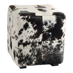 Kathy Kuo Home - Hugo Leather Black and White Hide Contemporary Patchwork Ottoman - Upholstered in the classic spotted cow skin, this ottoman bridges the urban and the rustic, minimal and decorative, and the functional and fabulous with ease.  Great for city apartment, country homes and just about everywhere in between.
