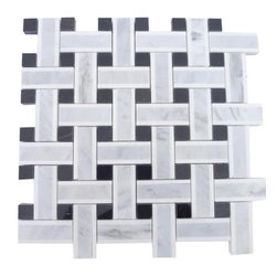 """GlassTileStore - Twine Highstrung Marble Tile - Twine Highstrung Marble Tile             This marble mosaic will provide endless design possibilities from contemporary to classic. It creates a great focal point to suit a variety of settings.         Chip Size: 2 7/8""""x3/4"""" Dot: 3/4""""x3/4""""   Color: White, Gray and Black    Material: White Thassos, Light Gray and Black Marble   Finish: Polished   Sold by the Sheet- each sheet measures 13""""x13"""" (1.17 sq.ft.)   Thickness: 10 mm            - Glass Tile -"""