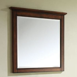 "Avanity - Tropica Mirror - 30"" Antique Brown - 31W x 32H inches; Birch solid wood in Antique Brown finish; Beveled mirror; Wood cleat at back for easy hanging"