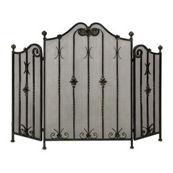 Imax - iMax Iron Fireplace Screen X-87161 - Traditional iron fireplace screen with intricate metalwork detail. Tri-fold.