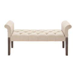 Comfortable and Captivating Wood Fabric Bench - Description: