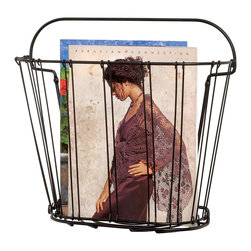 Spectrum Diversified Designs - Wall Mount Magazine Holder - Black - Keep your home and office organized with the chrome Double Wire Wall Mount Magazine Rack. This slim rack conveniently stores all of your standard size magazines and periodicals. Made of sturdy steel, its clean and simple design will add a modern touch to your home.