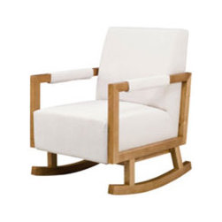 Bungalow Rocker By Nurseryworks - Cozy into the Bungalow Rocker to rock your little one to sleep. Beautiful lines and microsuede fabric options make this a stylish and practical option for seating,in the nursery or any room in the house.