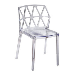 Fine Mod Imports - Zig Zag Dining Chair - Contemporary style. Shock, scratch and weather resistant. Can be used for indoors or outdoors. Warranty: 1 year. Made from transparent polycarbonate and acrylic. Clear color. No assembly required. 21 in. W x 18 in. D x 37 in. H (15 lbs.)The zig zag dining chair is serene design which allows it to be used for residential or commercial uses. It transcends space, creating space where there was little. The chair is sturdy and durable even as it displays delicate, ethereal appearance.