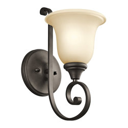 Kichler Lighting - Kichler Lighting 43170OZ Monroe Traditional Wall Sconce - This 1 light wall sconce from the Monroe&trade: lighting collection is a unique twist on traditional Americana. The distinctive metal base is touched with an Olde Bronze finish, which beautifully complements the Light Umber Etched Glass adornment. With this design, we have turned tradition on its head to create an updated look. May be installed with glass up or down.