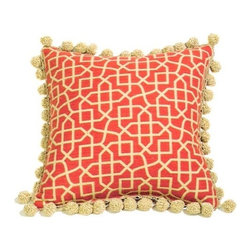 """Canaan - Fret Puzzle Pattern Print 18"""" x 18"""" Throw Pillow - Fret puzzle pattern print 18"""" x 18"""" throw pillow with crochet ball trim. Measures 18"""" x 18"""" made with a blown in foam. These are custom made in the U.S.A and take 4-6 weeks lead time for production."""