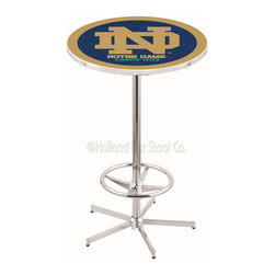 Holland Bar Stool - Holland Bar Stool L216 - 42 Inch Chrome Notre Dame (Nd) Pub Table - L216 - 42 Inch Chrome Notre Dame (Nd) Pub Table  belongs to College Collection by Holland Bar Stool Made for the ultimate sports fan, impress your buddies with this knockout from Holland Bar Stool. This L216 Notre Dame (ND) table with retro inspried base provides a quality piece to for your Man Cave. You can't find a higher quality logo table on the market. The plating grade steel used to build the frame ensures it will withstand the abuse of the rowdiest of friends for years to come. The structure is triple chrome plated to ensure a rich, sleek, long lasting finish. If you're finishing your bar or game room, do it right with a table from Holland Bar Stool.  Pub Table (1)