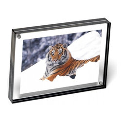 """Canetti - Graphite Edge Magnet Frame, Graphite Edge, 4""""x6"""" - The simple, no-frills design of this magnet frame lets you showcase your memories in standout style. Simply place your photo between the two clear panels and let it shine — the graphite-colored edge adds a chic hint of style that enhances the presentation of your image."""