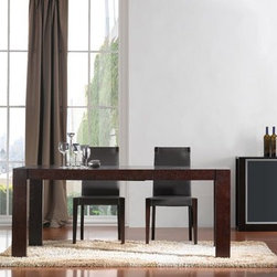 Extendable Wooden and Frosted Glass Top Leather Modern Dining Set with Leaf - Colibri modern wooden Italian extendable dining set. This Dinette Set offers a perfect touch for your modern home decor. The Set crafted from dark wood and features a smooth finish.