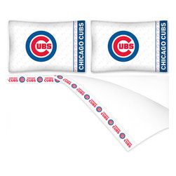 Sports Coverage - MLB Chicago Cubs Baseball Queen Bed Sheet Set - Features: