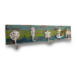 Zeckos - Distressed Finish Ocean Themed Wood and Cast Iron 5 Hook Wall Rack - This distressed finish 5 hook wall rack is great for hanging coats and scarves in hallways and mud rooms, or for hanging coffee mugs in the kitchen. The rack features 5 cast iron hooks; a crab, anchor, sand dollar, starfish and seahorse, all with s chipped and weathered off-white enamel finish. They are mounted to a 28 inch by 5 1/2 inch wooden base with a striped blue and green weathered finish. It's a great shabby chic addition to any room.